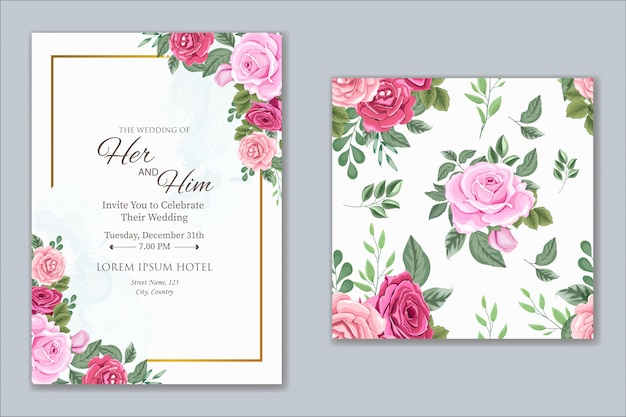 Diseño de invitación de boda con hermosas flores y hojas
