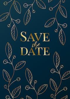 Diseño de invitación de boda de lujo o plantilla de tarjeta de felicitación con rosas doradas sobre un fondo azul marino.