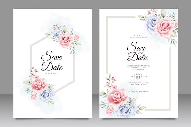 Diseño de invitación de boda marco floral