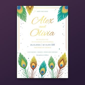 Diseño de invitación de boda con plumas de pavo real