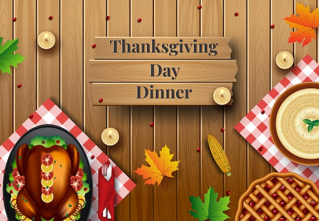 Diseño para la invitación de la cena de acción de gracias. ilustración vectorial