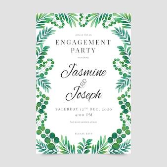 Diseño de invitación de compromiso floral