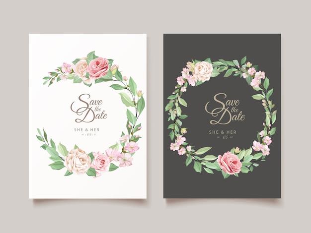 Diseño de invitación con corona floral