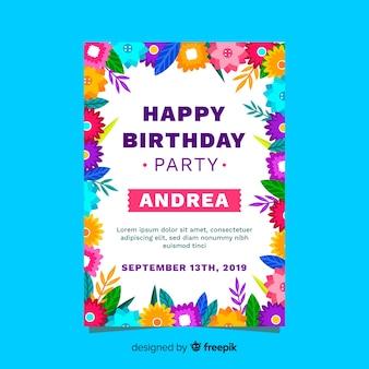 Diseño de invitación de cumpleaños con tema floral