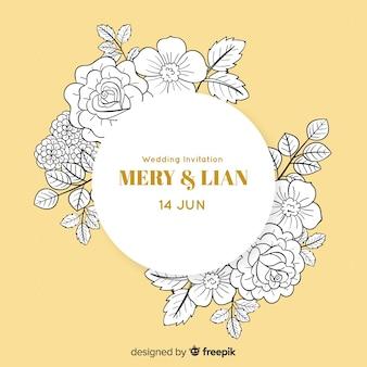Diseño de invitación de deshierbe redondo con flores.