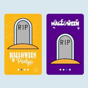Diseño de invitación feliz halloween con vector grave