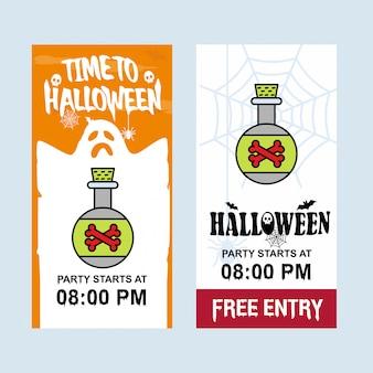 Diseño de invitación feliz halloween con vector de veneno