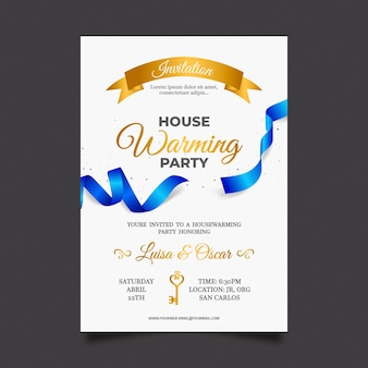 Diseño de invitación de fiesta de inauguración