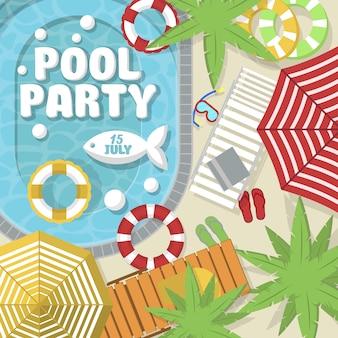 Diseño de invitación de fiesta de piscina de verano