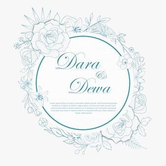 Diseño de invitaciones de boda florales dibujados a mano