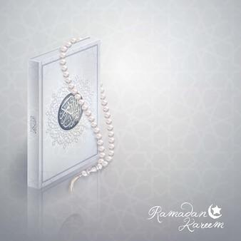 Diseño islámico del saludo de ramadán kareem.
