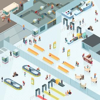 Diseño isométrico del aeropuerto.
