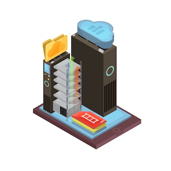 Diseño isométrico de almacenamiento en la nube con archivos y carpetas de video, racks de servidores en la pantalla del dispositivo móvil
