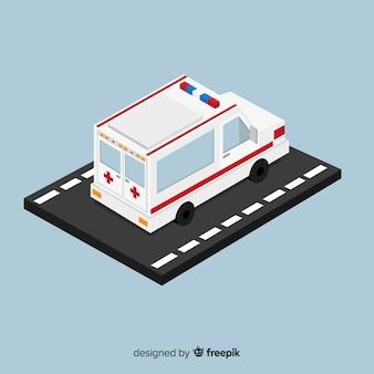 Diseño isométrico de ambulancia