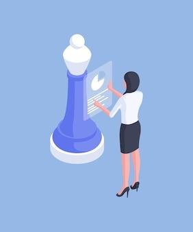 Diseño isométrico de analista femenina formal con documento de diagrama electrónico que revisa datos importantes con pieza de ajedrez aislada sobre fondo azul