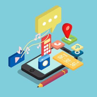 Diseño isométrico de aplicaciones de teléfono móvil