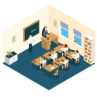 Diseño isométrico del aula de la escuela