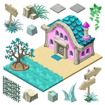Diseño isométrico de cabaña y elementos.