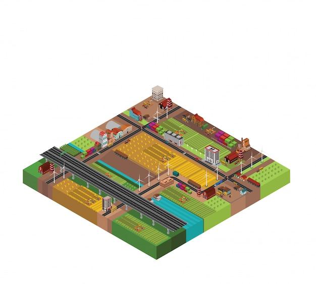 Diseño isométrico del campo de la granja