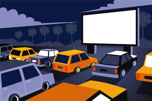 Diseño isométrico de cine drive-in.