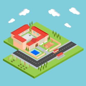 Diseño isométrico de colegio