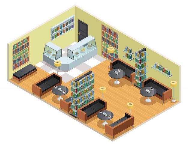 Diseño isométrico en color del interior de la biblioteca.