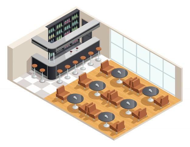 Diseño isométrico en color del interior del café con mesa de bar.