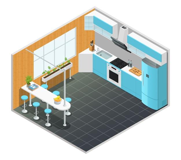 Diseño isométrico en color del interior de la cocina con mesa alta y electrodomésticos, ilustración vectorial