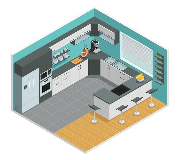 Diseño isométrico en color del interior de la cocina con mesa y silla.