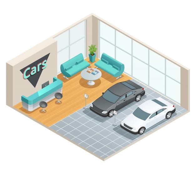 Diseño isométrico a color de sala de autos con recepción.