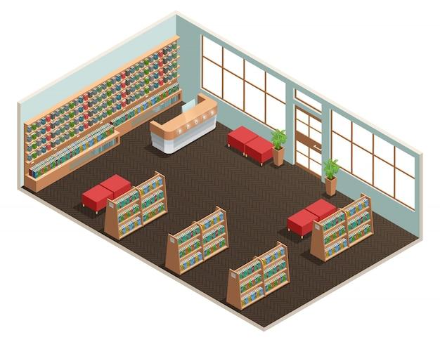 Diseño isométrico en color de sala de biblioteca.