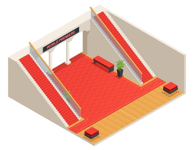 Diseño isométrico en color del vestíbulo con escaleras y alfombras rojas.