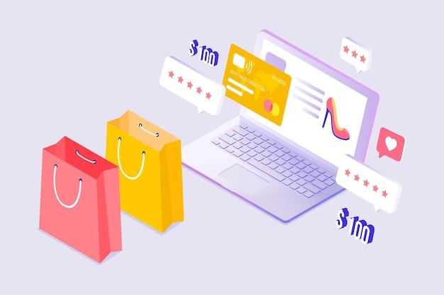 Diseño isométrico de comercio electrónico