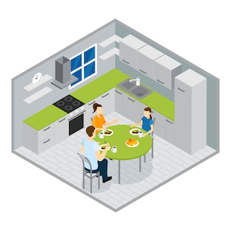 Diseño isométrico de comidas familiares