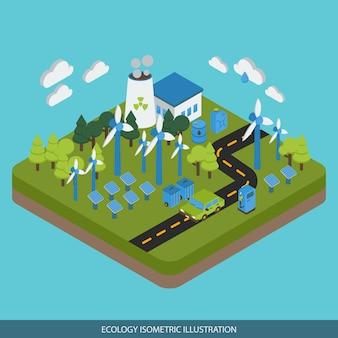 Diseño isométrico de ecología