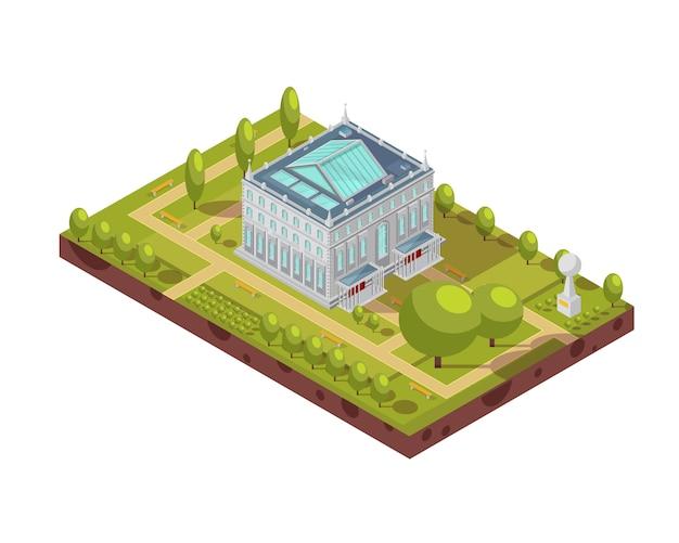 Diseño isométrico del edificio clásico de la universidad con techo de cristal, parque verde y monumento 3d ilustración vectorial