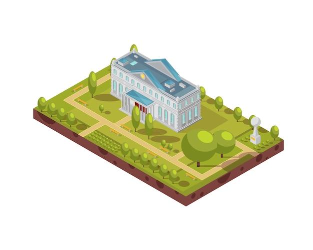 Diseño isométrico del edificio histórico de la universidad con pasillos y bancos de monumentos en el parque que rodea la ilustración vectorial 3d