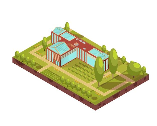 Diseño isométrico del edificio de la universidad roja con bancos de árboles de techo de vidrio verde y pasillos ilustración vectorial 3d