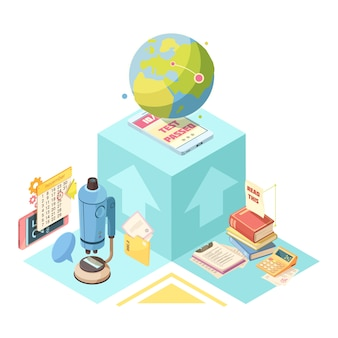Diseño isométrico de educación a distancia con globo, dispositivo móvil en cubo azul, libros, microscopio y calculadora