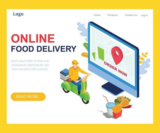 Diseño isométrico de entrega de alimentos en línea