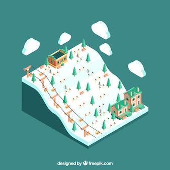 Diseño isométrico de estación de esquí