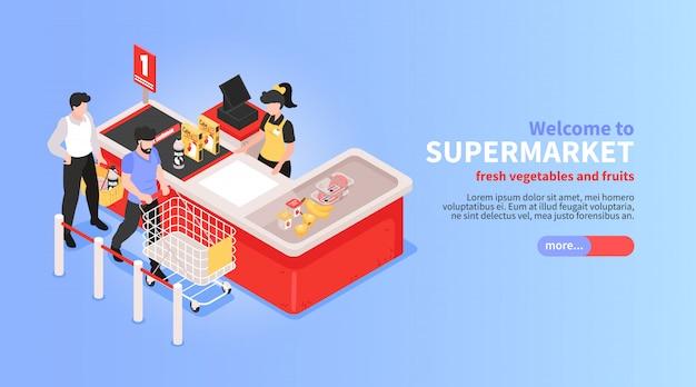 Diseño isométrico horizontal del sitio web del supermercado con verduras en línea, frutas, supermercado, canasta de oferta, clientes, símbolos de pago