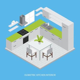 Diseño isométrico interior de la cocina con gabinetes grises, mesa de trabajo verde, sillas de mesa, ilustración vectorial