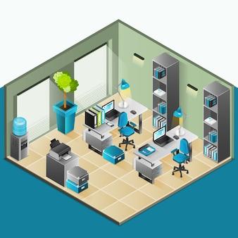 Diseño isométrico interior de oficina