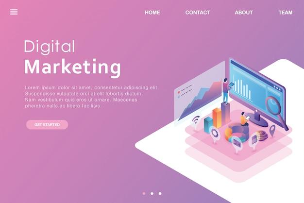 Diseño isométrico página de aterrizaje de negocios