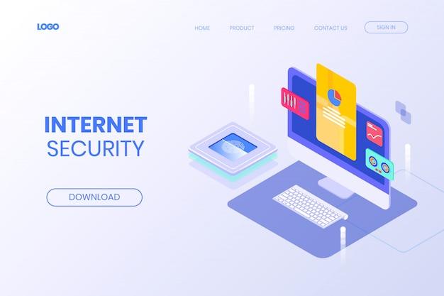 Diseño isométrico de la página de aterrizaje de la tecnología de seguridad de internet