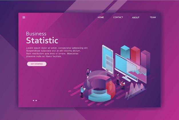 Diseño isométrico página de destino de negocios