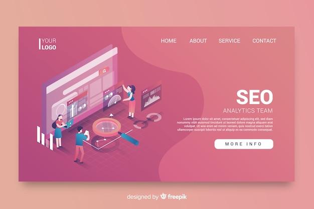 Diseño isométrico de la página de inicio de seo