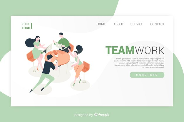 Diseño isométrico de la página de inicio del trabajo en equipo