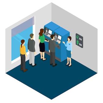 Diseño isométrico de personas y cajeros automáticos.